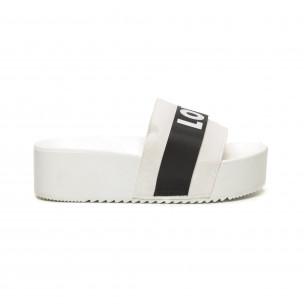 Papuci de dama albi LOVE cu platformă