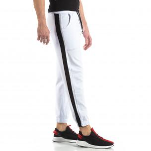 Pantaloni de trening pentru bărbați în alb cu bandă