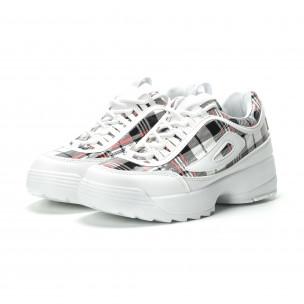 Pantofi sport de dama albi cu talpă Chunky 2