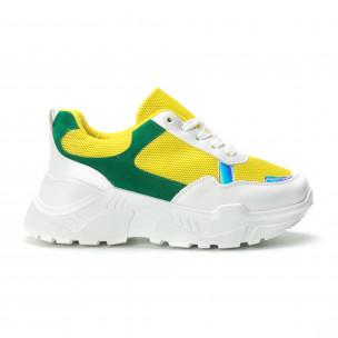 Pantofi sport pentru dama în alb-galben-verde cu talpă groasă