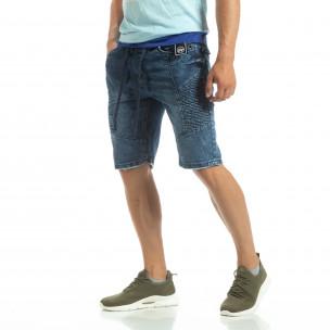 Bermude de blugi pentru bărbați stil rocker
