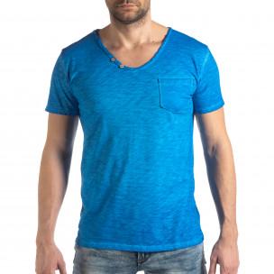 Tricou albastru deschis de bărbați stil Vintage