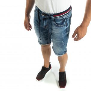 Bermude de blugi albaștri cu manșete pentru bărbați  2