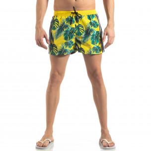Costum de baie de bărbați galben cu imprimeu floral 2