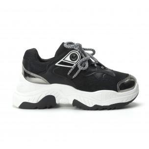 Pantofi sport de dama în negru și alb 2