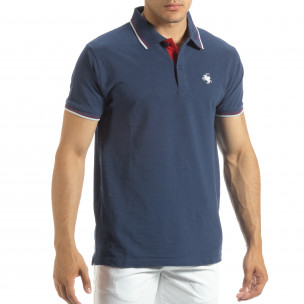 Tricou polo shirt albastru pentru bărbați