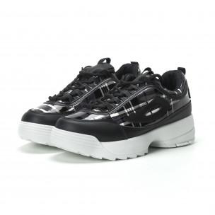 Pantofi sport de dama negri cu talpă Chunky 2