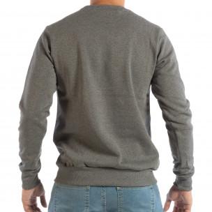 Bluză gri matlasată pentru bărbați cu imprimare  2