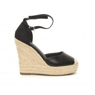 Sandale de dama negre cu talpă înaltă
