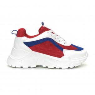 Pantofi sport de dama în alb, roșu și albastru