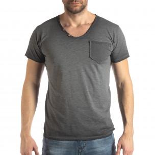 Tricou gri de bărbați stil Vintage