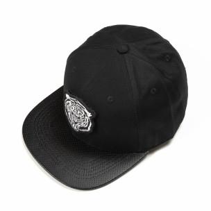 Șapcă neagră cu imprimeu alb