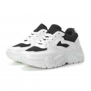 Pantofi sport de dama în alb și negru cu talpă groasă 2