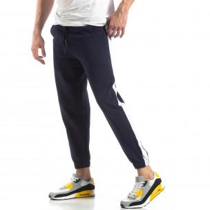 Pantaloni de trening pentru bărbați în albastru cu bandă