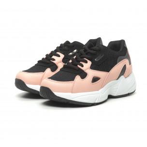 Pantofi sport de dama roșu și roz cu talpă groasă FM 2