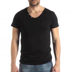 Tricou negru de bărbați stil Vintage