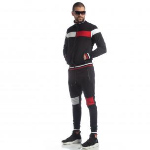 Set sportiv negru cu guler drept pentru bărbați
