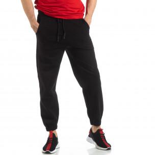 Pantaloni de trening pentru bărbați în negru cu bandă