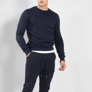 Bluză de bărbați Basic bleumarin din bumbac