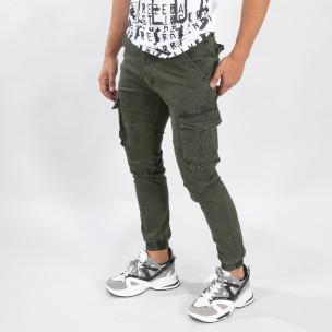 Pantaloni cargo verzi de bărbați cu manșete elastice