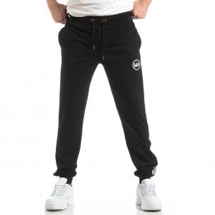 Pantaloni sport de bărbați negri cu logo și benzi