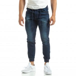 Blugi subțiri albaștri de bărbați cu manșete din tricot