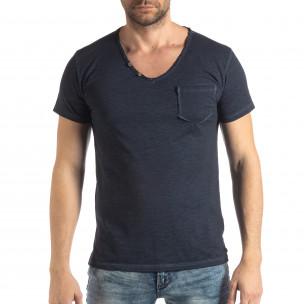 Tricou bleumarin de bărbați stil Vintage