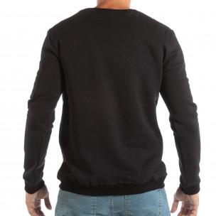 Bluză neagră matlasată pentru bărbați cu broderie 2
