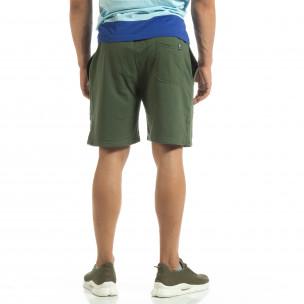 Pantaloni sport scurți de bărbați din tricot verde 2