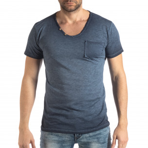 Tricou albastru de bărbați stil Vintage