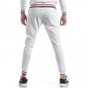 Pantaloni sport de bărbați albi cu accente  2