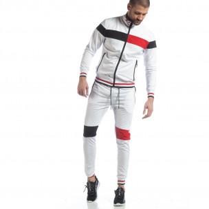 Set sportiv alb cu guler drept pentru bărbați