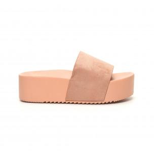 Papuci de dama roz cu platformă înaltă