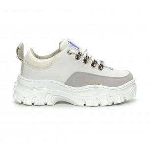 Pantofi sport de dama în alb cu talpă groasă 2