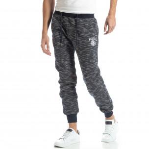 Pantaloni sport groși în melanj albastru pentru bărbați