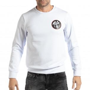 Bluză pentru bărbați albă cu motiv oriental