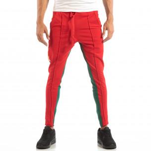Jogger pentru bărbați în roșu și verde cu benzi și fermoare  2