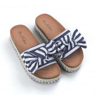 Papuci de dama cu dungi albastre 2