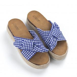 Papuci de dama în carouri albastre cu platformă 2