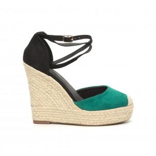 Sandale de dama verzi cu platformă înaltă