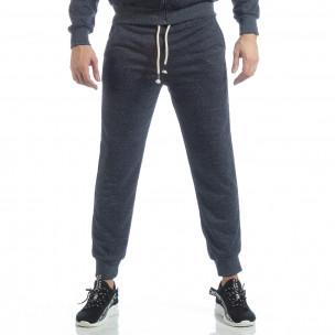Pantaloni sport în melanj albastru de bărbați