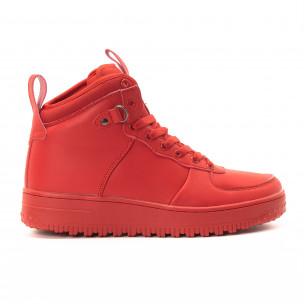 Teniși înalți roșii cu șireturi pentru bărbați