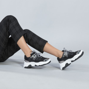 Pantofi sport de dama în negru și alb