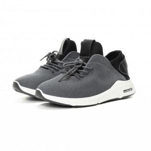 Adidași în gri și negru din material textil pentru bărbați  2