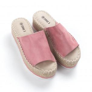 Papuci de dama roz tip espadrile 2