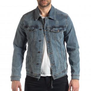 Jachetă din denim elastic albastru pentru bărbați  2