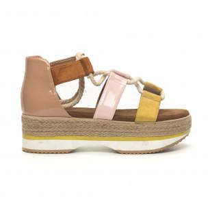 Papuci de dama design marin pe galben și roz