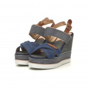 Sandale de dama denim albastru cu platformă înaltă 2