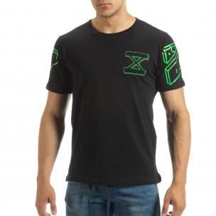 Tricou negru de bărbați cu imprimeu verde pe spate