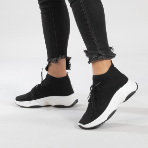 Pantofi sport de dama negri Chunky tip șosetă